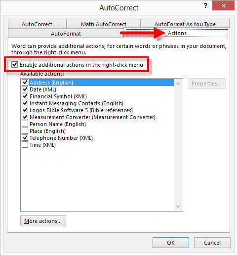 Word 2013 AutoCorrect Options dialog