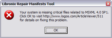 Your system is missing critical files related to MSXML 4.0 SP1.
