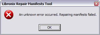 An unknown error occurred. Repairing manifests failed.