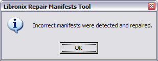 Incorrect manifests were detected and repaired.