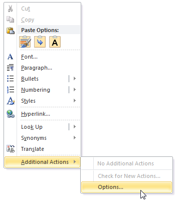 Context menu in Word 2010.