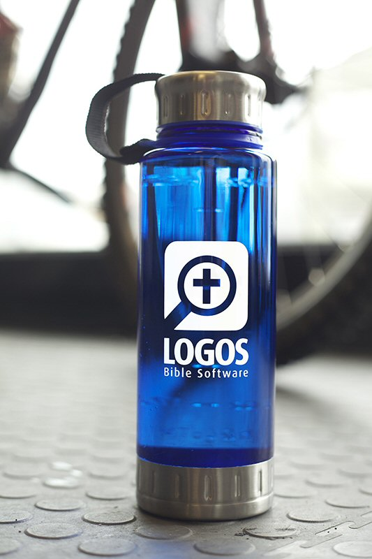 Logos Water Bottle—Blue Polycarbonate/Stainless Steel