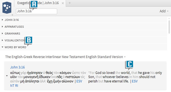 Find Bible Sense in Word by Word