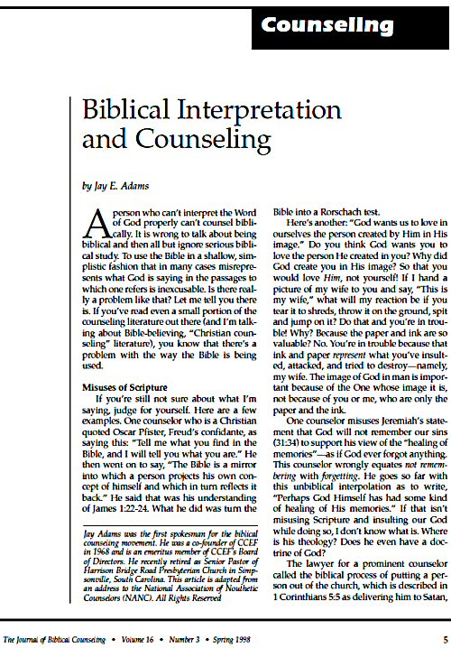 comparison paper 1 effective biblical counseling essay Compare and contrast this is very consistent to crabb's goal of effective christian counseling and what the gospel we can edit and customize this paper for.