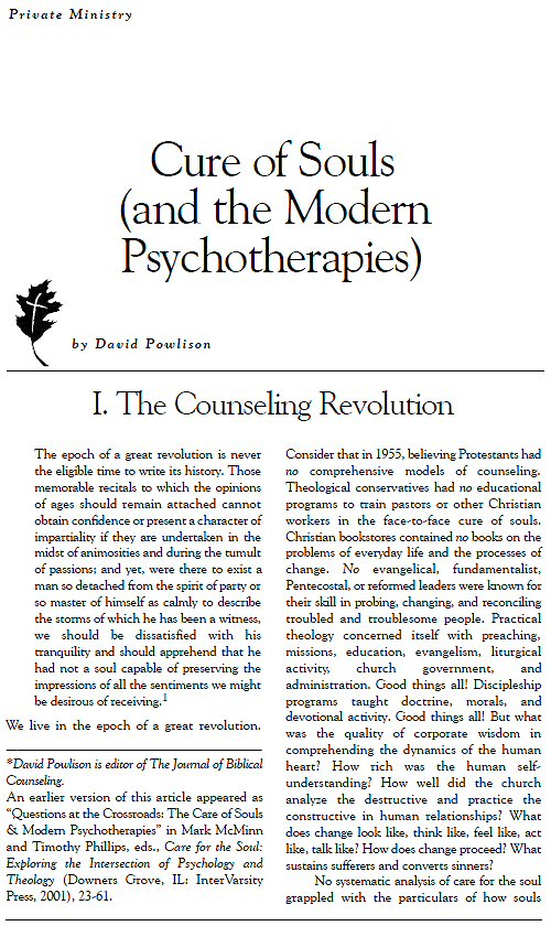 biblically defined counseling essay Powlison's essay cure of souls (and  the movement has been defined by the usage of powlison's  and sustained during counseling powlison and.