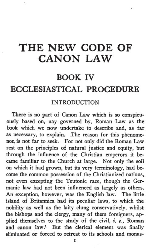 the code of canon law While the now abrogated 1917 code of canon law emphasized schools in its section on education, the current 1983 code of canon law employs a more general catholic education as its focus, with schools being among the elements considered under catholic education many canonists have pointed out that this was no accident.