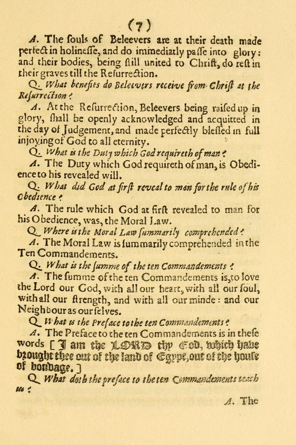 Fabulous image pertaining to westminster shorter catechism printable