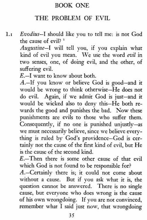 augustine on free choice of the will book 1 essay The book deals more with the problem of evil than with the problem of free choice augustine has a good deal in the same book, augustine middle east resources.