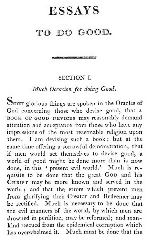 cotton mather bonifacius essays to do good summary His book, bonifacius, or essays to do good (1710), instructs others in humanitarian acts cotton mather wrote and published more than 400 works.