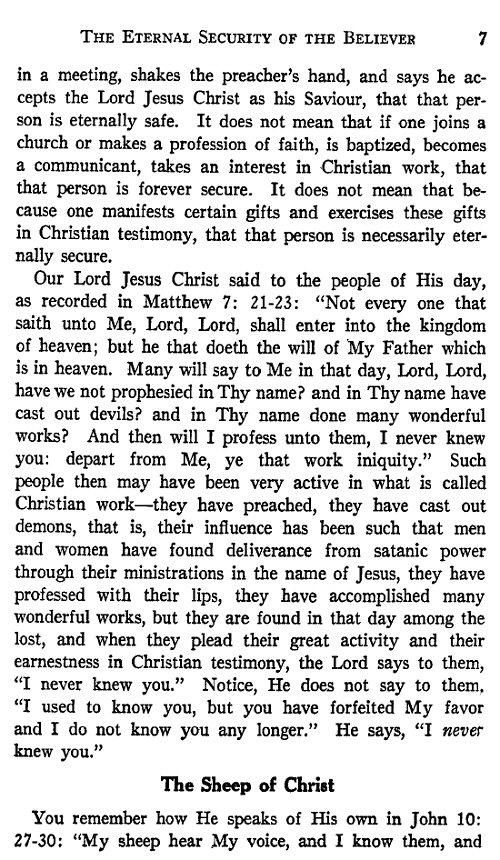 eternal security of the believer essay