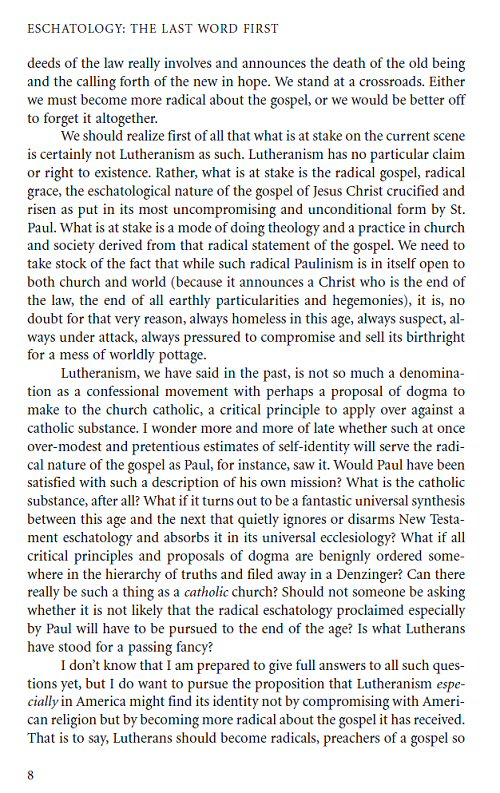 eschatology essay gospel more radical