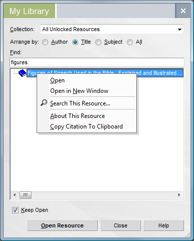 The Right-Click Menu in My Library
