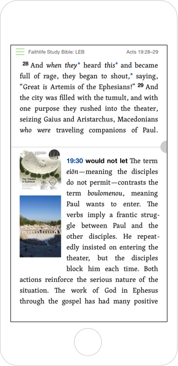 Screenshot showing Acts 19 with parallel study tools