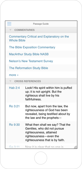Screenshot showing commentaries and cross references