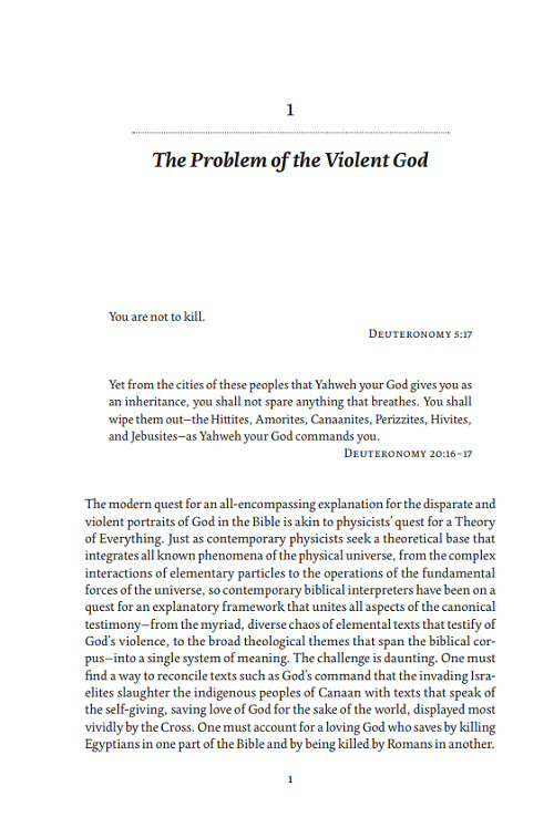 The Violence of the Biblical God: Canonical Narrative and Christian Faith