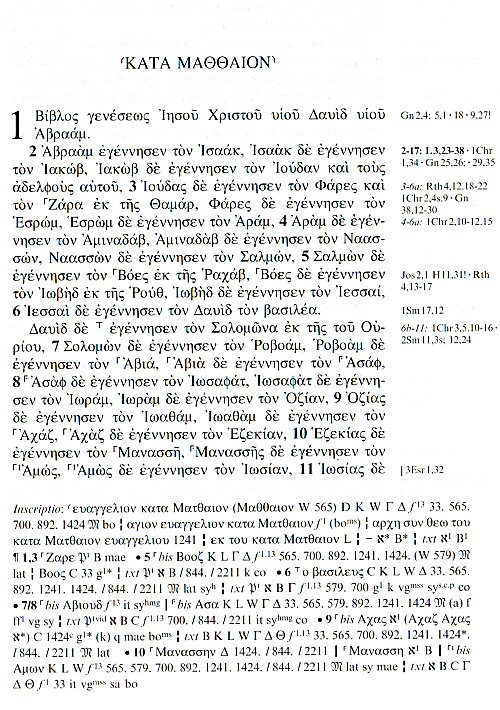 A page from the Nestle-Aland 28th edition showing Matthew 1:1-10